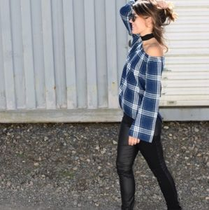 Cloth & Stone Plaid Homestead Off The Shoulder Top